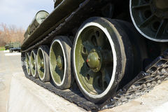 Soviet old T-34 tank wheels closeup. Soviet old T-34 tank track and wheels Royalty Free Stock Photography