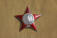 Soviet order. Red Star. Soviet insignia. two orders for paticipation and heroism in Great national War - World War Second Stock Image