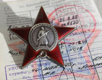Soviet order. Red Star and soldier document. Soviet insignia. two orders for paticipation and heroism in Great national War - World War Second Royalty Free Stock Image