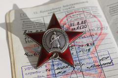 Soviet order. Red Star and soldier document. Soviet insignia. two orders for paticipation and heroism in Great national War - World War Second Royalty Free Stock Photo