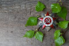 The Soviet order of the Second World war, Victory Day 9 May postcard concept. Toned vintage Royalty Free Stock Image