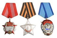 Soviet Orders And Awards On White Stock Image