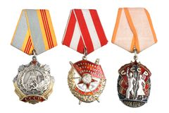 Soviet orders and awards isolated Royalty Free Stock Images
