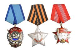 Soviet orders and awards isolated Royalty Free Stock Photo