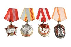 Soviet orders and awards isolated Stock Photography