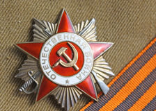 Soviet orders Greate National War and the St. George ribbon. Soviet insignia order of Greate National War and the St. George ribbon Stock Photo