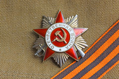 Soviet orders Greate National War and the St. George ribbon. Soviet insignia order of Greate National War and the St. George ribbon Royalty Free Stock Photos