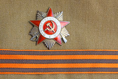 Soviet orders Greate National War and the St. George ribbon. Soviet insignia order of Greate National War and the St. George ribbon Royalty Free Stock Photography