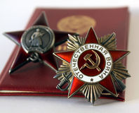 Soviet orders. Red Star and Greate National War. Soviet insignia. two orders for paticipation and heroism in Great national War - World War Second Royalty Free Stock Photography