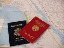 Soviet passport. And american passport with California map for travel Stock Photo