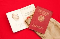 Soviet passport and party card Stock Photos