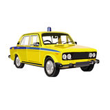 Soviet police car Lada. Drawing Soviet retro car dark color Stock Image