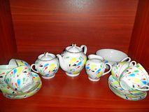 Soviet porcelain set hand-painted royalty free stock images