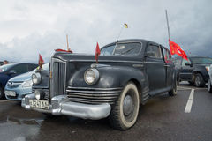 Soviet post-war passenger Executive class car ZIS-110 in the Parking lot. The parade of retro transport in Kronstadt Stock Photo