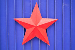 Soviet Red Star on Blue Stock Photo