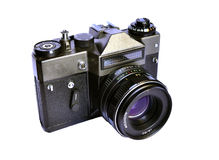 Soviet retro film camera on white background Stock Photos