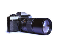 Soviet retro film camera on white background Royalty Free Stock Images