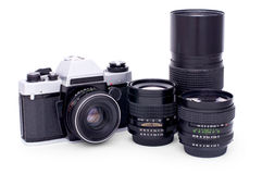 Soviet retro photo camera and lenses Stock Photo
