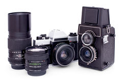 Soviet retro photo cameras and lenses Stock Photo