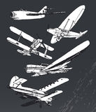 Soviet retro planes collection. Ink hand drawn old airplanes Stock Images