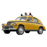 Soviet retro yellow police car with flashing lights Stock Photos