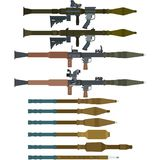 Soviet rocket launchers and grenades for RPG-7 Stock Images