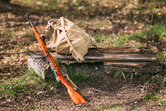Soviet Russian Rifle Of World War II In Forest Stock Photos
