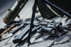 Soviet russian weapon: weapon pile. On the ground Stock Photography