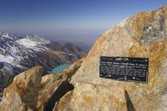 Soviet's Peak. Tian-Shan. Kazakhstan. View from Soviet's Peak (4300 m alt.) Tien-Shan. Kazakhstan. Memorial plaque on the alp is devote to famous Kasakhstan Royalty Free Stock Photos