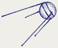 Soviet satellite. Doodle style Royalty Free Stock Images