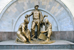 Soviet sculpture dedicated to miners and builders of the Moscow metro Stock Image