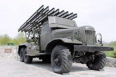 Soviet self-propelled rocket orudie. Allies car historical history howitzer katyusha mobile museum old organ stock images