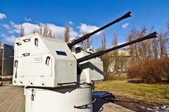 Soviet shipboard artillery mount 2M-3M. Museum of the World ocean. Kaliningrad (until 1946 Koenigsberg), Russia Stock Photos