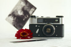 Soviet small-format rangefinder camera. Small-format rangefinder camera unreleased since 1977 in the Soviet Union. Photo intention to make a shallow depth of Stock Photos