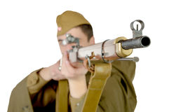 Soviet sniper with his rifle Royalty Free Stock Photo