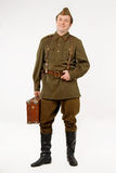 Soviet soldier. Soldier in historical soviet military uniform of World War II royalty free stock photography