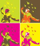 Soviet soldier. The Soviet soldier with a pistol in a hand and on planes background Royalty Free Stock Photo