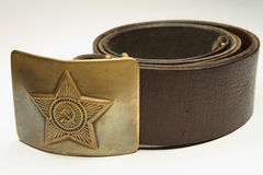 Soviet soldier belt. Old belt of the soldier of the Soviet army Stock Photos