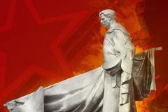 Soviet soldier monument. Soviet soldier monument with red illustrated background Royalty Free Stock Images