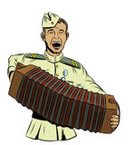Soviet soldier plays the accordion and sings a song Stock Photos
