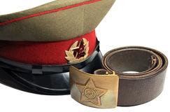 Soviet soldier's cap and belt Stock Photos