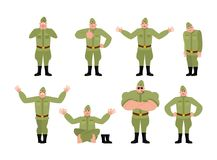 Soviet soldier set poses and motion. Retro Russian warrior happy. And yoga. sleeping and angry Military in Russia. guilty and sad. Illustration for 23 February Stock Photography