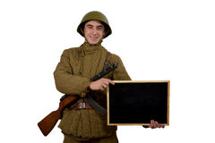 Soviet soldier shows sign Stock Images