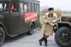 Soviet soldier standing near army lorry stock photo