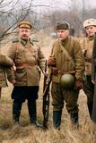 Soviet soldiers of the Red Army of the Second World War on the r royalty free stock photography