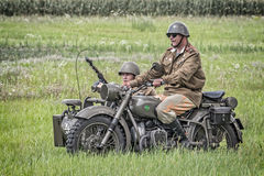 Soviet soldiers riding a sidecar Stock Photos