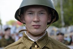 Soviet soldiers. Yoshkar-Ola, Russia - May 9, 2016: Photo of a young man, dressed in a Soviet soldier in the form of a victory parade on May 9 in central city Stock Images