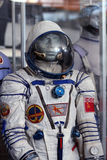 The soviet spacesuit with symbols of USSR Stock Photography
