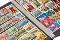 Soviet stamps album. Album with a collection of old Soviet postage stamps royalty free stock photos
