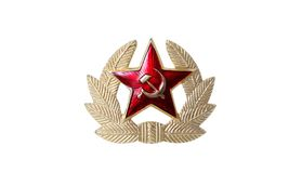 Soviet star. The red soviet star and brass wreath on white background Royalty Free Stock Photo